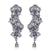 Espirito Santo Aquamarine, Madagascar Pink Sapphire Platinum Over Sterling Silver Floral Omega Clip Earrings TGW 5.70 cts.