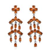 Jalisco Fire Opal Platinum Over Sterling Silver Earrings TGW 3.650 Cts.