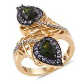 Stefy Russian Diopside, Madagascar Pink Sapphire, Tanzanite 14K YG Over Sterling Silver Openwork Paisley Ring (Size 7.0) TGW 2.496 cts.
