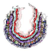 Multi Gemstone Silvertone Set of 10 Bead Necklaces (18-20 in)