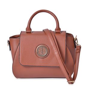 Brown Faux Leather Handbag (10x4x7.5 in)