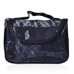 Black Floral Lace Multi Purpose Bag (9x4x6 in)