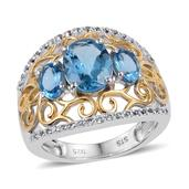 Swiss Blue Topaz, White Topaz 14K YG and Platinum Over Sterling Silver Openwork Trilogy Ring (Size 7.0) TGW 3.600 cts.