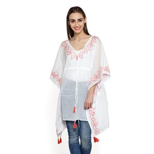 White and Coral 100% Cotton V-Neck Poncho with Embroidery Work and Tassels (Free Size)