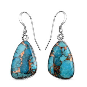 Santa Fe Style Mojave Blue Turquoise Sterling Silver Earrings TGW 30.00 cts.