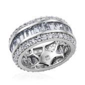 Espirito Santo Aquamarine, White Topaz Platinum Over Sterling Silver Band Ring (Size 8.5) TGW 5.320 cts.