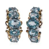 Cambodian Blue Zircon 14K YG and Platinum Over Sterling Silver J-Hoop Earrings TGW 6.45 cts.