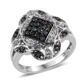 Bekily Color Change Garnet, White Topaz Platinum Over Sterling Silver Split Ring (Size 5.0) TGW 1.140 cts.