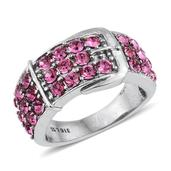 Stainless Steel Buckle Ring (Size 7.0) Made with SWAROVSKI Rose Crystal TGW 0.210 cts.