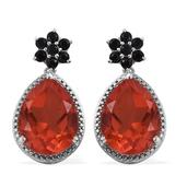 Sunfire Quartz, Thai Black Spinel Platinum Over Sterling Silver Earrings TGW 21.250 Cts.