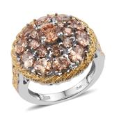 KARIS Collection - Simulated Champagne Diamond ION Plated 18K YG and Platinum Bond Brass Ring (Size 7.0) TGW 8.25 cts.