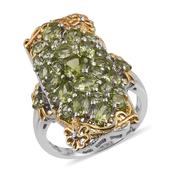 Hebei Peridot 14K YG and Platinum Over Sterling Silver Ring (Size 9.0) TGW 5.110 cts.