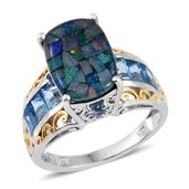 Australian Mosaic Opal, Electric Blue Topaz 14K YG and Platinum Over Sterling Silver Ring (Size 7.0) TGW 7.050 cts.
