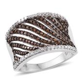 Red Diamond (IR), Diamond Platinum Over Sterling Silver Openwork Concave Ring (Size 7.0) TDiaWt 0.75 cts, TGW 0.750 cts.