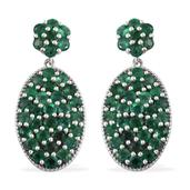 Kagem Zambian Emerald Platinum Over Sterling Silver Cluster Earrings TGW 7.000 Cts.