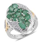 Kagem Zambian Emerald, White Topaz 14K YG and Platinum Over Sterling Silver Ring (Size 6.0) TGW 4.200 cts.