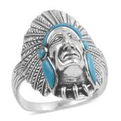 Santa Fe Style Turquoise Sterling Silver Ring (Size 13.0) TGW 3.000 cts.