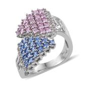 J Francis - Platinum Over Sterling Silver Bypass Ring Made with Multi Color SWAROVSKI ZIRCONIA (Size 8.0) TGW 4.00 cts.