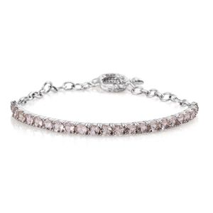 Marropino Morganite Platinum Over Sterling Silver Bar Bracelet with Toggle Clasp (7.50 In) TGW 4.00 cts.