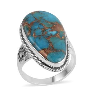 Santa Fe Style Mojave Turquoise Sterling Silver Ring (Size 9.0) TGW 2.250 cts.