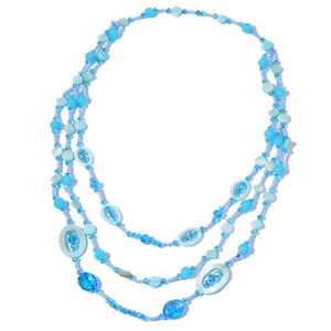 Simulated Blue Pearl, Blue Shell, Glass Drape Necklace (28 in)