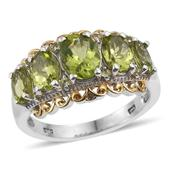 Hebei Peridot 14K YG and Platinum Over Sterling Silver Ring (Size 6.0) TGW 4.320 cts.