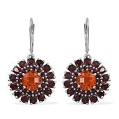 Sunfire Quartz, Mozambique Garnet Platinum Over Sterling Silver Lever Back Earrings TGW 11.150 Cts.