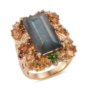 Stefy Malagasy Labradorite, Multi Gemstone 14K YG Over Sterling Silver Ring (Size 7.0) TGW 14.330 cts.