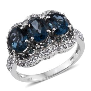 London Blue Topaz, Bekily Color Change Garnet, White Topaz Platinum Over Sterling Silver Ring (Size 7.0) TGW 6.240 cts.