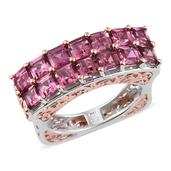 Pink Tourmaline 14K RG and Platinum Over Sterling Silver Ring (Size 9.0) TGW 4.750 cts.
