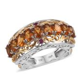 Santa Ana Madeira Citrine, Ruby 14K YG and Platinum Over Sterling Silver Euro Style Ring (Size 9.0) TGW 4.180 cts.