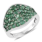 Kagem Zambian Emerald Platinum Over Sterling Silver Cluster Concave Ring (Size 9.0) TGW 2.79 cts.