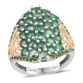 Brazilian Emerald, Russian Diopside 14K YG and Platinum Over Sterling Silver Ring (Size 6.0) TGW 4.150 cts.