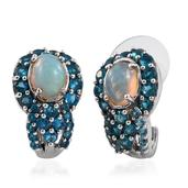 Ethiopian Welo Opal, Malgache Neon Apatite Platinum Over Sterling Silver J-Hoop Earrings TGW 3.520 Cts.