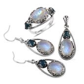 Artisan Crafted Sri Lankan Rainbow Moonstone, Malgache Neon Apatite Sterling Silver Earrings, Ring (Size 10) and Pendant without Chain TGW 30.430 Cts.