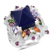 Lapis Lazuli, Multi Gemstone Platinum Over Sterling Silver Elongated Ring (Size 5.0) TGW 17.85 cts.
