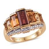 Stefy Mozambique Garnet, Multi Gemstone 14K YG Over Sterling Silver Ring (Size 7.0) TGW 4.870 cts.