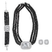Black and White Glass, White Austrian Crystal Silvertone Bracelet (7.50 in), Earrings and Necklace TGW 680.000 cts.
