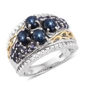 Thai Blue Star Sapphire, Catalina Iolite 14K YG and Platinum Over Sterling Silver Ring (Size 7.0) TGW 4.700 cts.