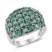 Kagem Zambian Emerald Platinum Over Sterling Silver Ring (Size 6.0) TGW 4.400 cts.