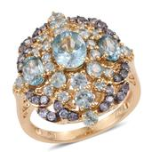 Cambodian Blue Zircon, Tanzanite 14K YG Over Sterling Silver Ring (Size 5.0) TGW 6.840 cts.