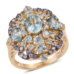 Cambodian Blue Zircon, Tanzanite 14K YG Over Sterling Silver Ring (Size 7.0) TGW 6.84 cts.