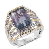 Bi-color Fluorite, White Topaz 14K YG and Platinum Over Sterling Silver Ring (Size 8.0) TGW 10.05 cts.