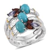 Arizona Sleeping Beauty Turquoise, Mozambique Garnet, Tanzanite 14K YG and Platinum Over Sterling Silver Open Bamboo Ring (Size 8.0) TGW 3.58 cts.