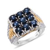 Thai Blue Star Sapphire, White Topaz 14K YG and Platinum Over Sterling Silver Ring (Size 6.0) TGW 9.640 cts.