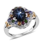 Thai Blue Star Sapphire, Multi Gemstone 14K YG and Platinum Over Sterling Silver Ring (Size 8.0) TGW 5.650 cts.