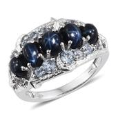 Thai Blue Star Sapphire, Sky Blue Topaz Platinum Over Sterling Silver 5 Stone Ring (Size 5.0) TGW 4.580 cts.