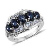 Thai Blue Star Sapphire, Sky Blue Topaz Platinum Over Sterling Silver 5 Stone Ring (Size 6.0) TGW 4.580 cts.