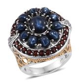 Thai Blue Star Sapphire, Mozambique Garnet, White Topaz 14K YG and Platinum Over Sterling Silver Ring (Size 7.0) TGW 12.590 cts.