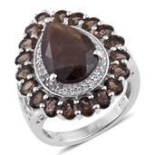 Chocolate Sapphire, Brazilian Smoky Quartz, White Topaz Platinum Over Sterling Silver Ring (Size 7.0) TGW 9.650 cts.